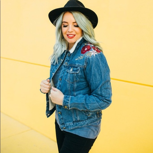 Jackets & Blazers - Embroidered Floral Denim Jacket with Faux Fur